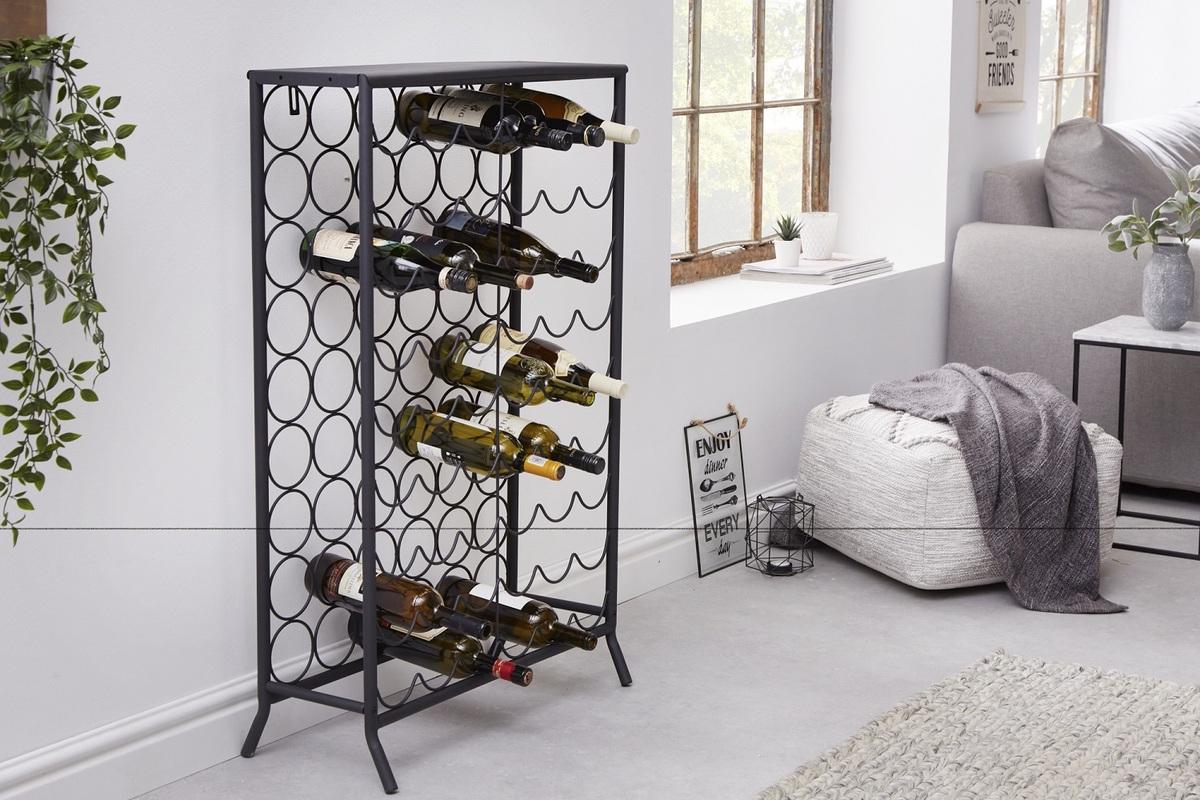 LuxD Dizajnový regál na víno Dalya 102 cm čierny