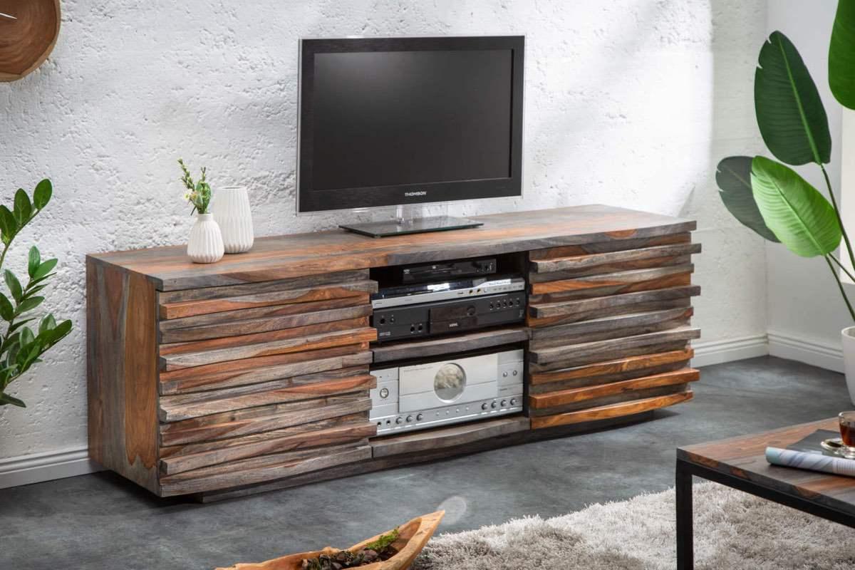 LuxD Dizajnový TV stolík Lorenzo 150 cm sheesham dymový