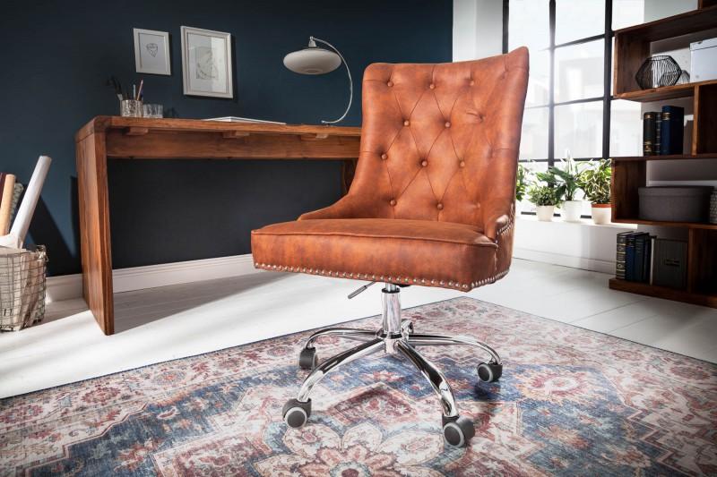 LuxD Kancelárska stolička s podrúčkami Jett vintage svetlohnedá