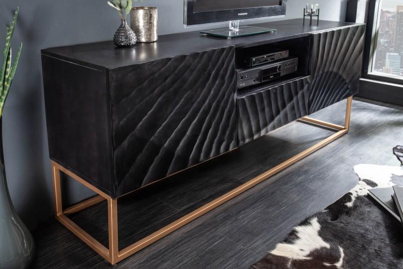 LuxD Dizajnový TV stolík Shayla 160 cm čierny - mango