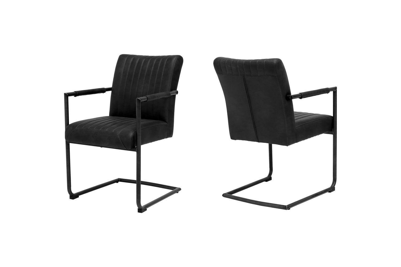 Dizajnová stolička Karla / čierna - s opierkami