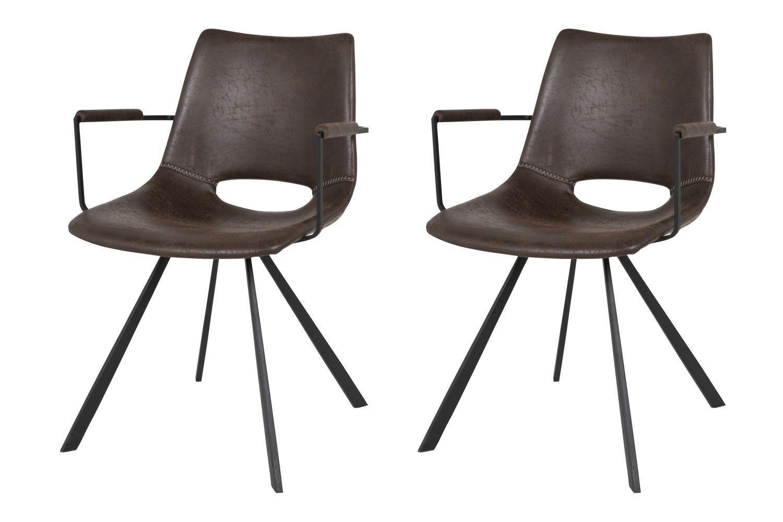 Dizajnová stolička Izabella s opierkami / tmavo hnedá
