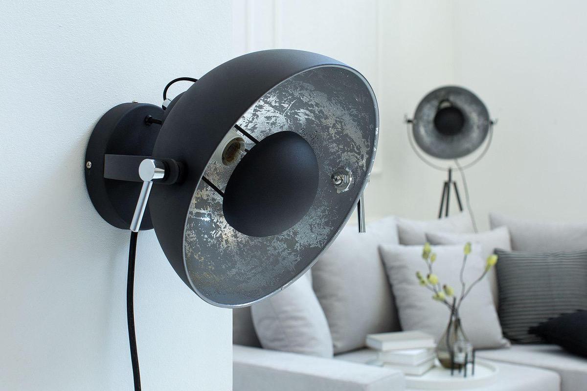 Nástenná lampa STAGE čierno strieborná