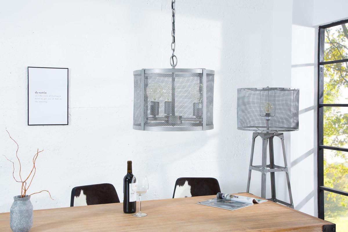 Dizajnová závesná lampa Metall 40 cm / sivá