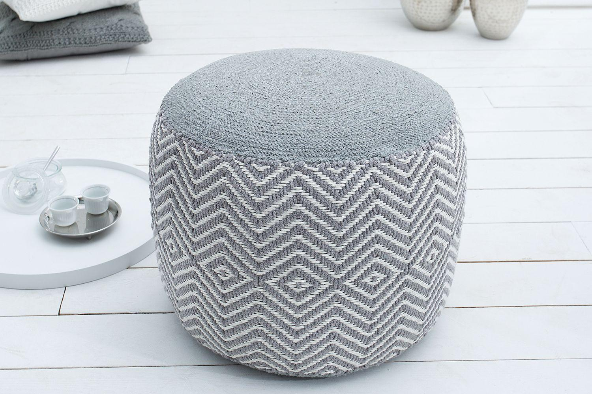 Dizajnová taburetka Orient / biela - šedá
