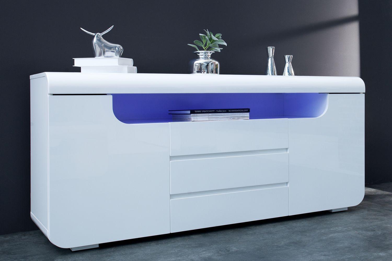 Dizajnová komoda Luminous 150 cm / biela