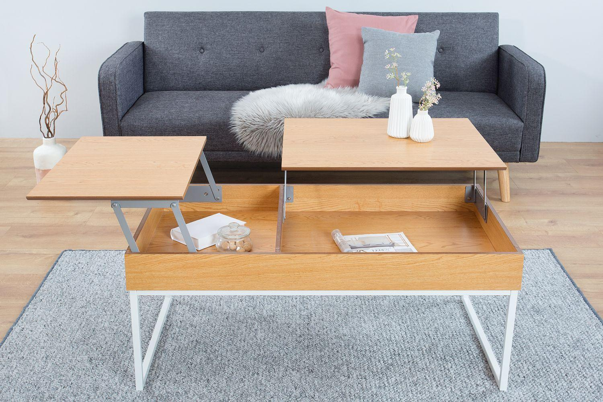 Konferenčný stolík Cesar 135 cm / biela- dub