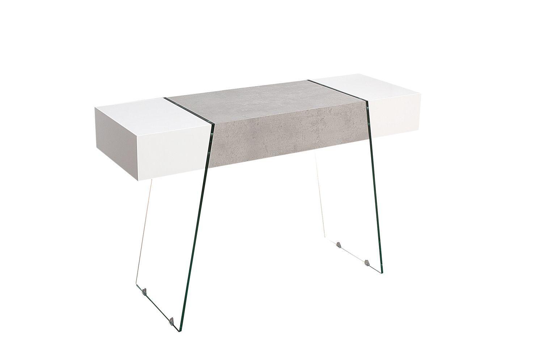 Dizajnová konzola Livid 120 cm / biela-betónová