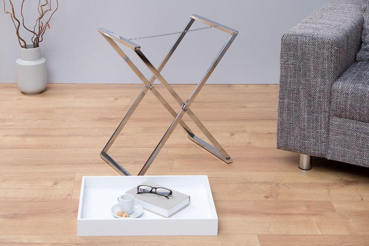 Odkladací stolík Veronica / biela -strieborná