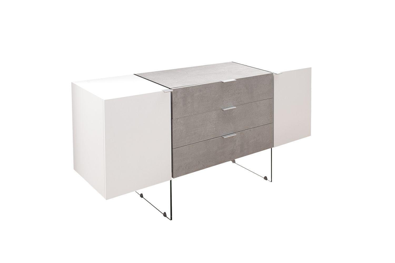 Dizajnová komoda Livid 160 cm / biela - betónová