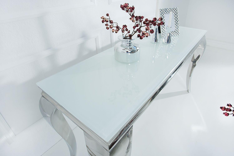 Dizajnová konzola Rococo 140cm biela / strieborná