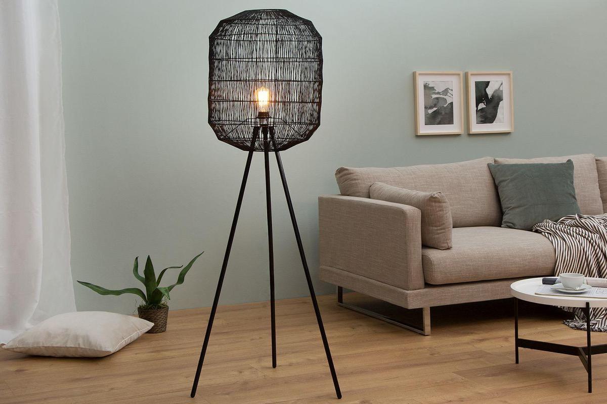 LuxD 20043 Stojanová lampa Hash / čierna Stojanové svietidlo