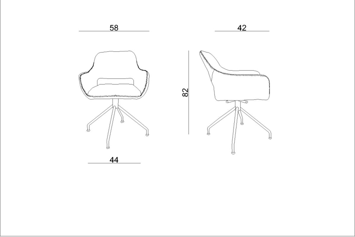 Dizajnové otočné kreslo Kellan, čierne