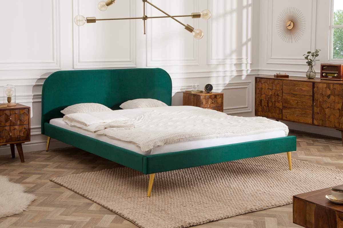 LuxD Manželská posteľ Lena 140 x 200 cm - zelený zamat
