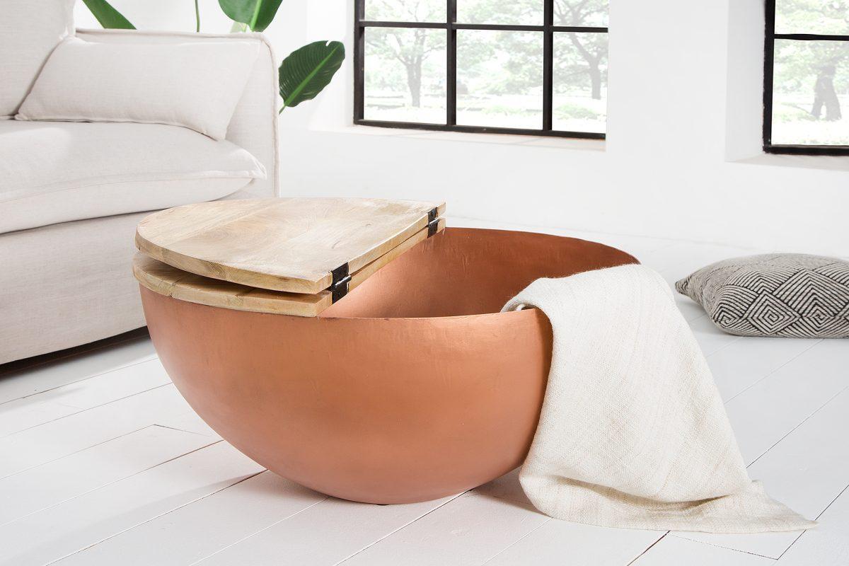 Dizajnový konferenčný stolík Malia medený