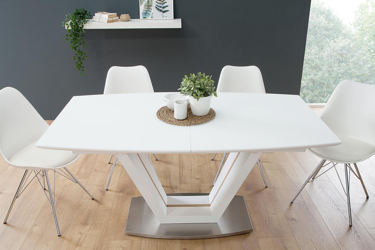 Rozkladací jedálenský stôl Joanna biely / dub 160-220 cm