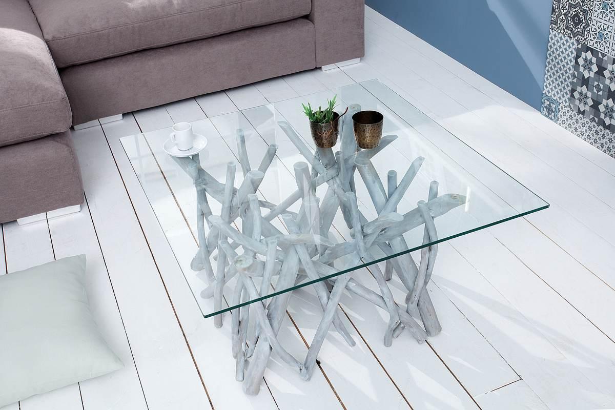 Dizjanový konferenčný stolík Twig, sivý