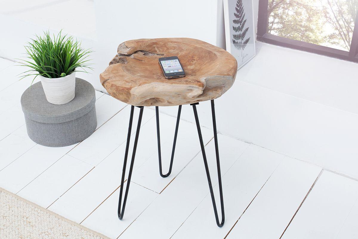 Dizjanový odkladací stolík Jamari, 40 cm, teak