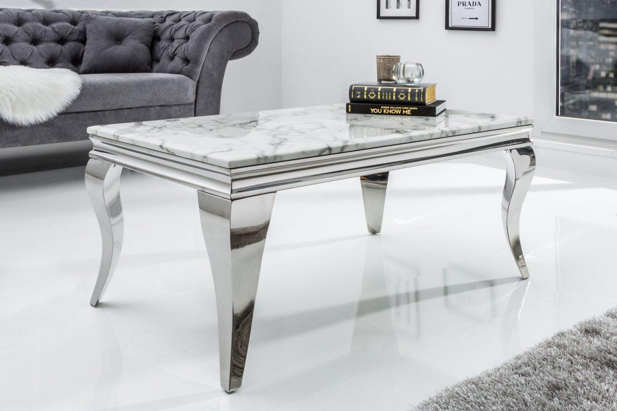Dizajnový konferenčný stolík Rococo 100 cm mramor