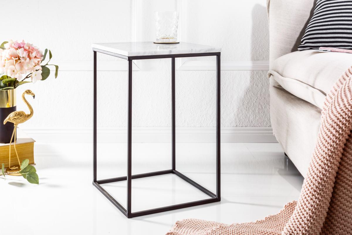 Dizajnový odkladací stolík Tristen biely mramor