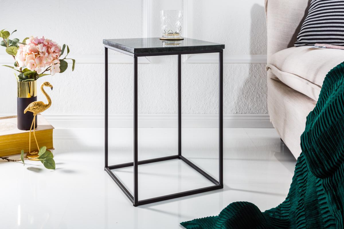 Dizajnový odkladací stolík Tristen zelený mramor