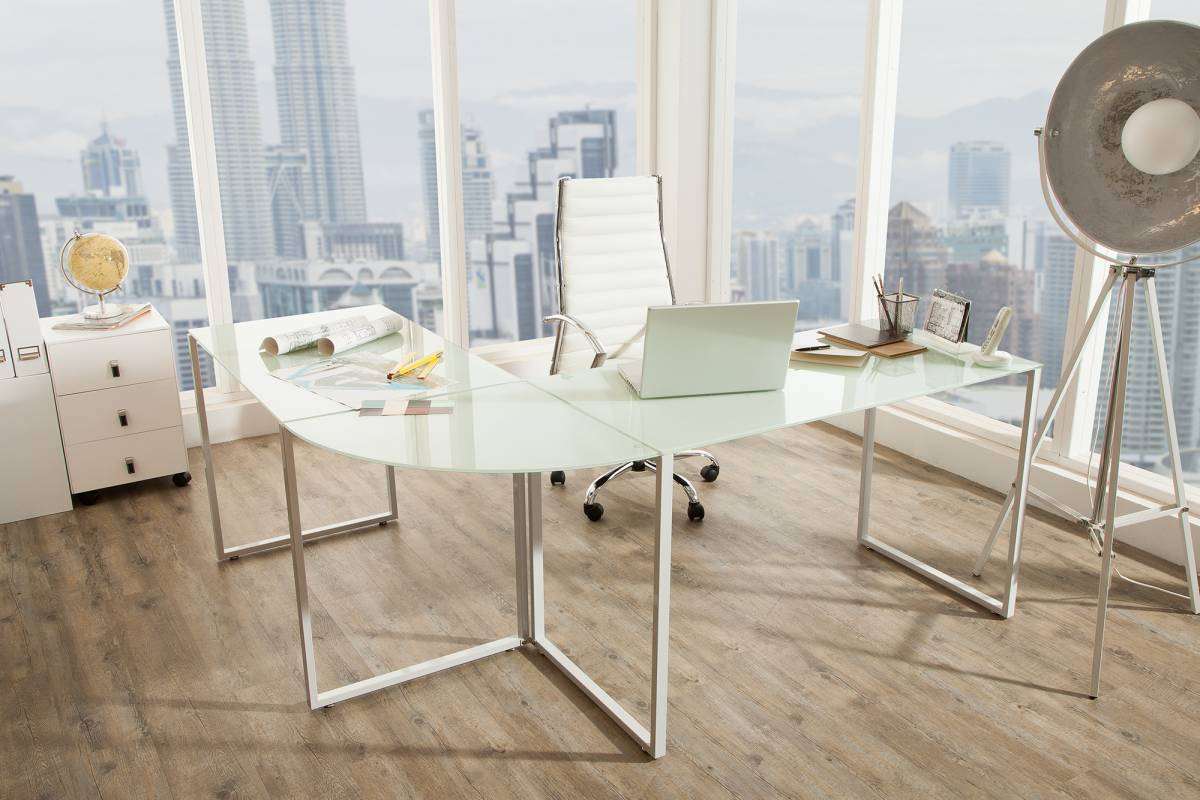 Rohový písací stôl Boss sklo / biely