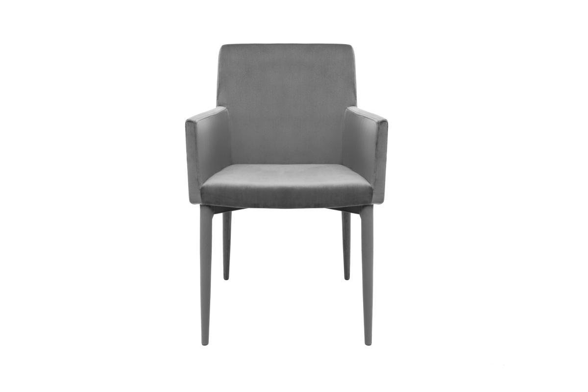 Dizajnová stolička s podrúčkami Neapol, sivý zamat