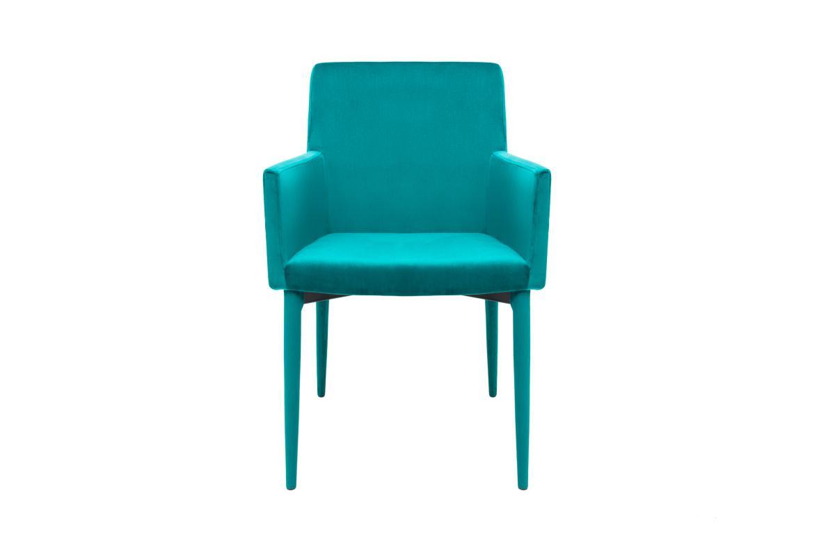 Dizajnová stolička s podrúčkami Neapol, modrý zamat