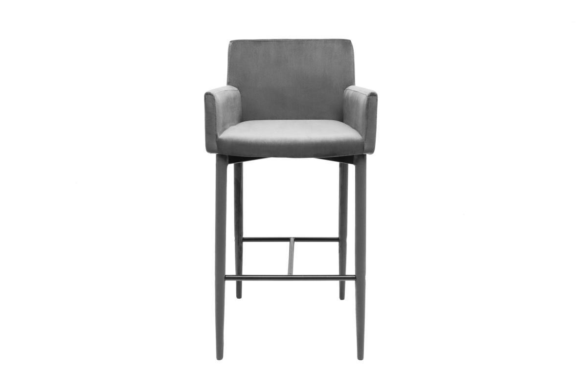 Dizajnová barová stolička Neapol, sivý zamat