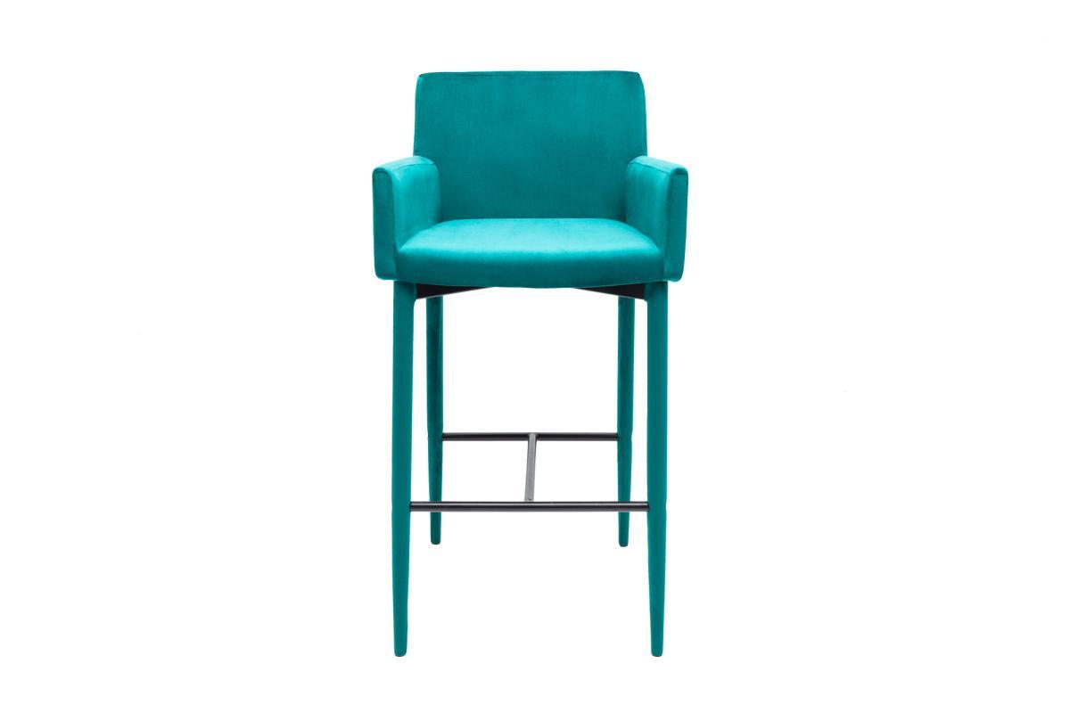 Dizajnová barová stolička Neapol, modrý zamat