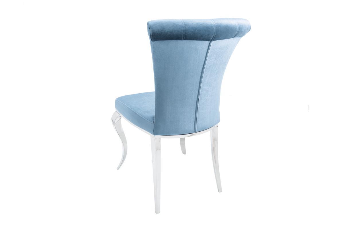Dizajnová stolička Rococo III strieborno-modrá, zamat