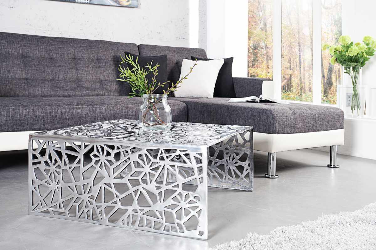 Dizajnový stolík Pablo 60 cm strieborný