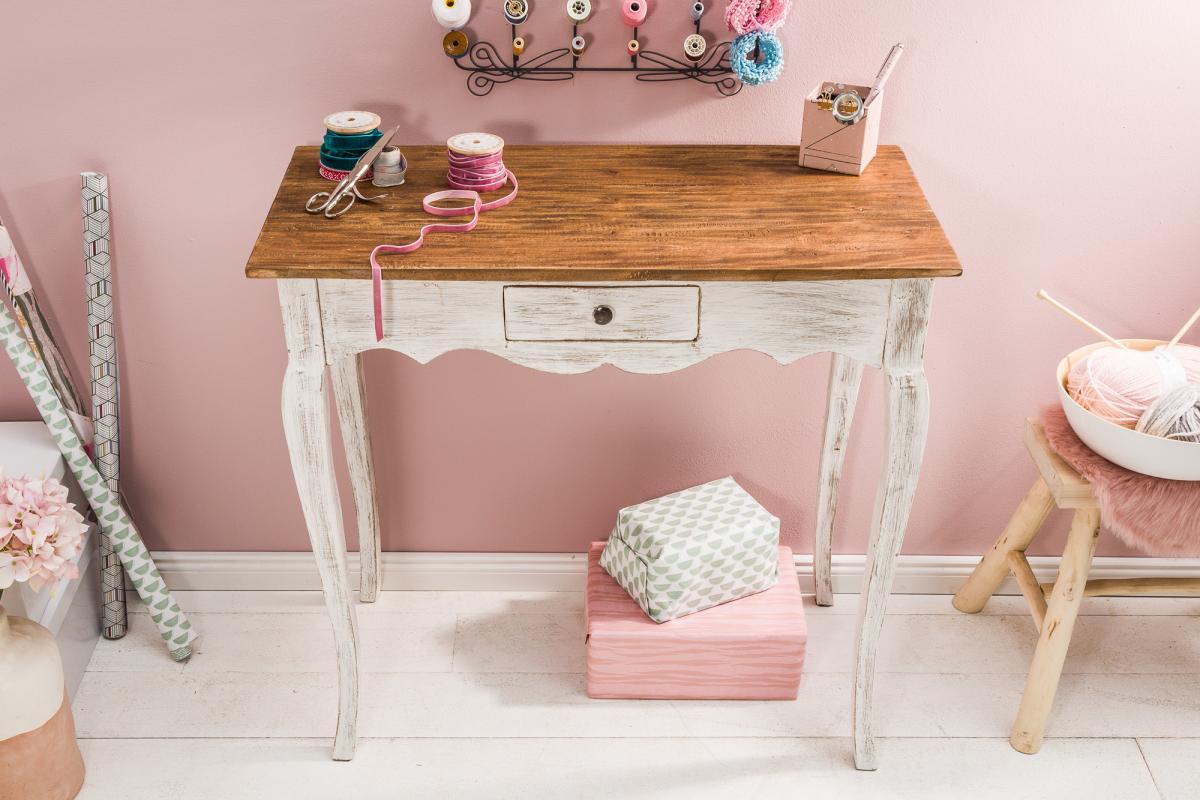 Písací stôl Miley, biely / mahagón - Skladom na SK