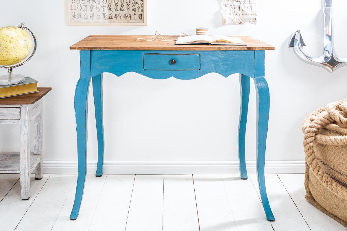 Písací stôl Miley, modrý / mahagón