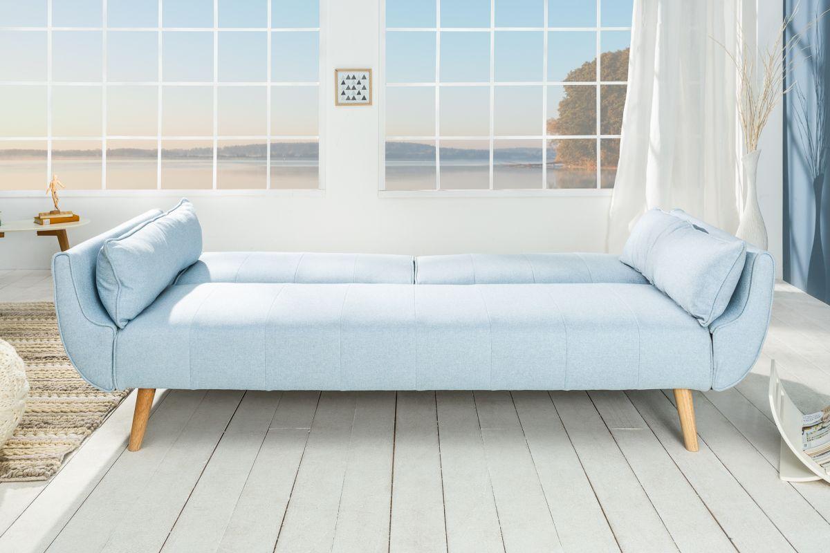 Rozkladacia sedačka Amiyah, 215 cm, svetlomodrá