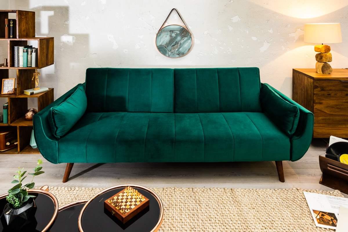 Rozkladacia sedačka Amiyah, 215 cm, zelený zamat