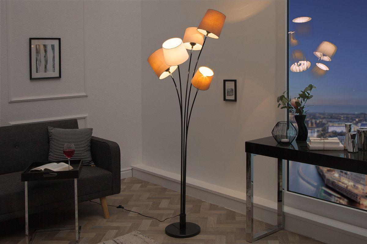 Dizajnová stojanová lampa Shadow, béžovo-čierna