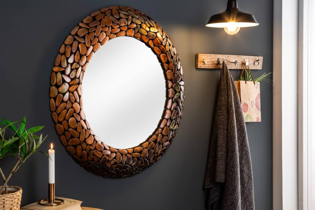 Dizajnové zrkadlo Mauricio, 82 cm, medené