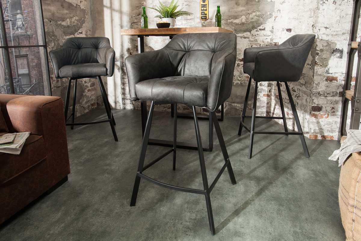 LuxD Dizajnová barová stolička Giuliana, antik sivá
