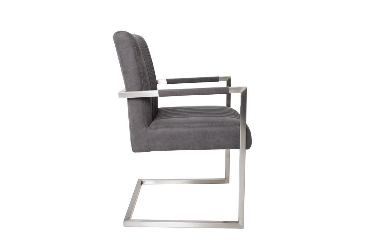 Konzolová stolička Boss s podrúčkami, sivá antik