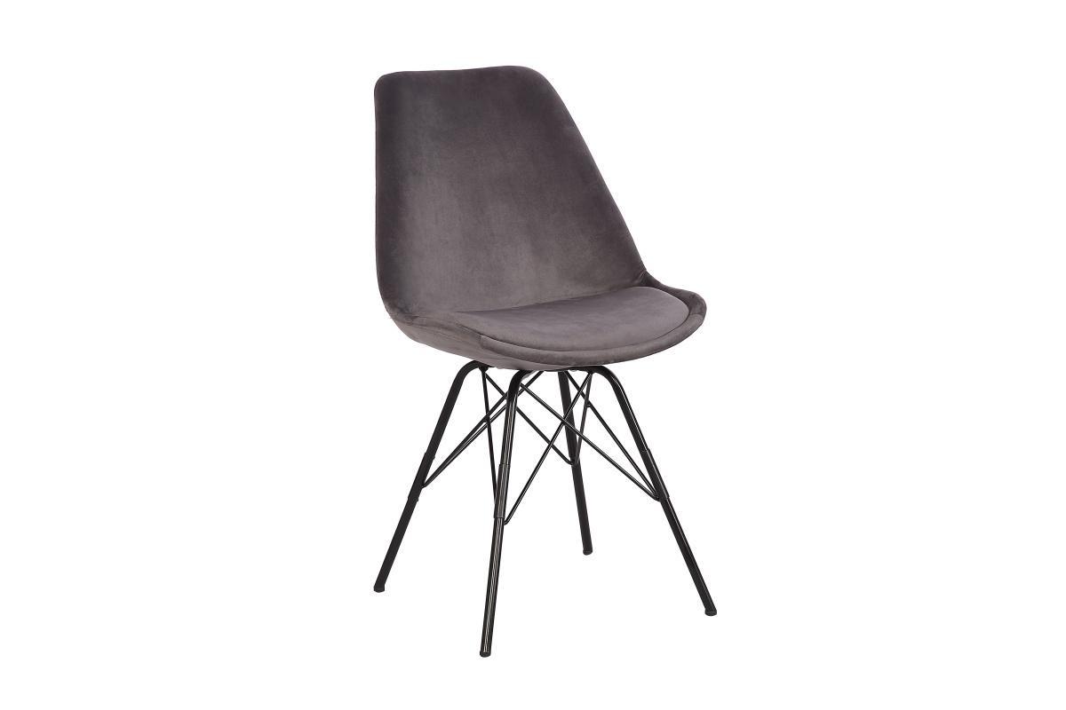 Dizajnová jedálenská stolička Sweden Retro, strieborný zamat