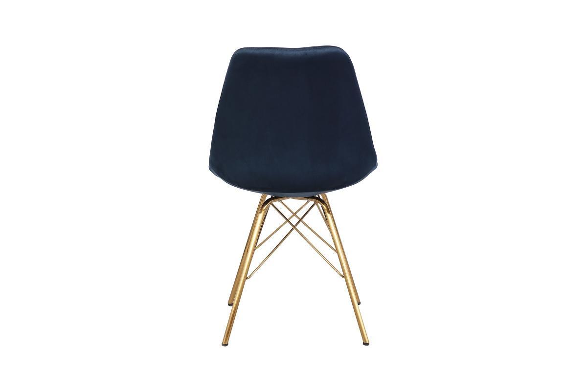 Dizajnová jedálenská stolička Sweden Retro, tmavomodrá / zlatá