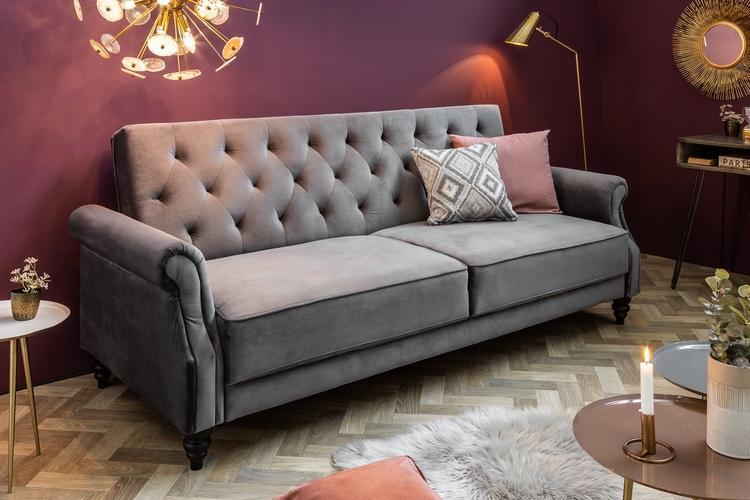 Dizajnová rozkladacia sedačka Scarlet Belle II, 220 cm, sivá, zamat