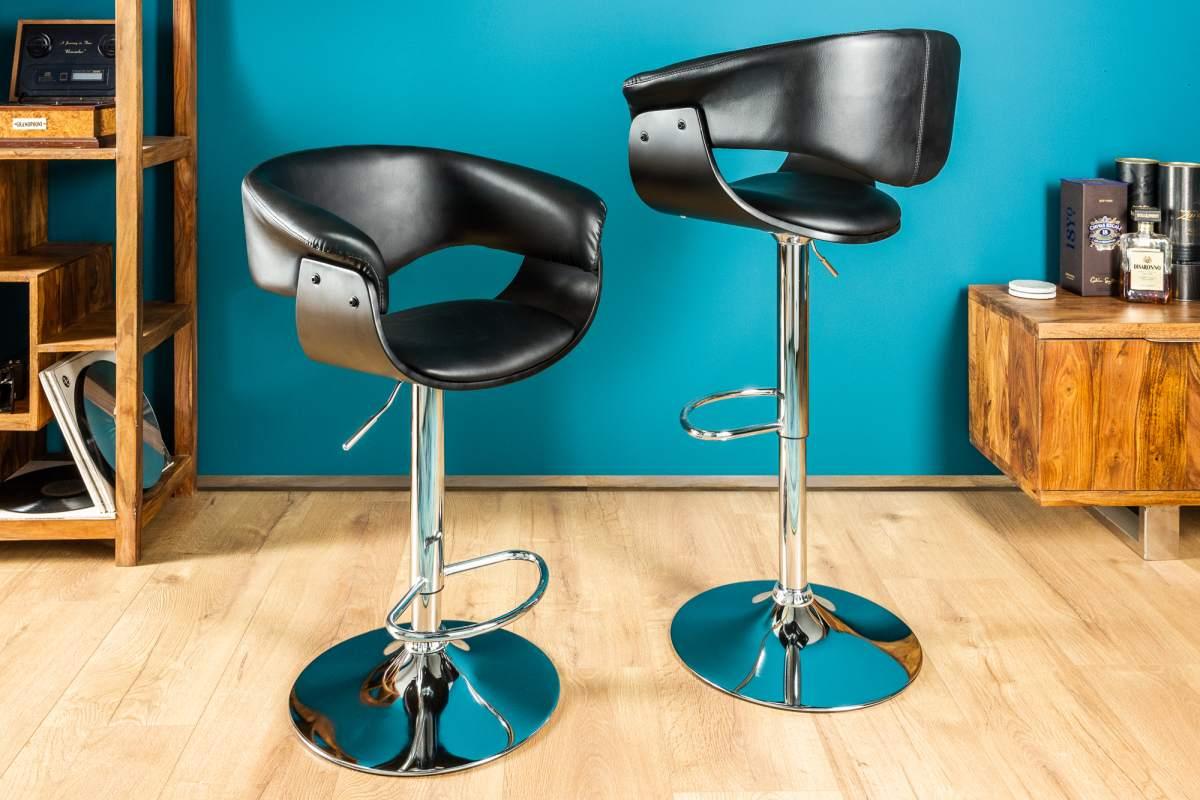 Dizajnová barová stolička Dane, čierno-strieborná
