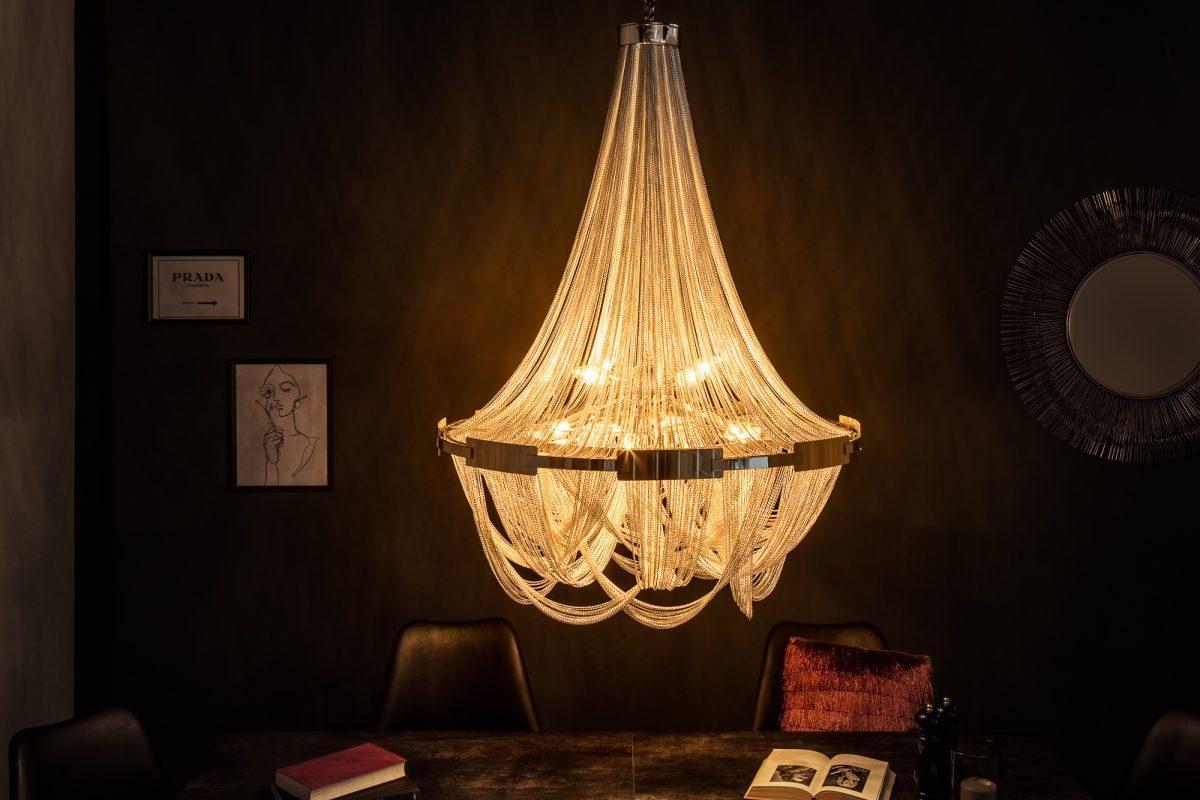 LuxD 21153 Dizajnový luster Finn, 70 cm, strieborný závesné svietidlo