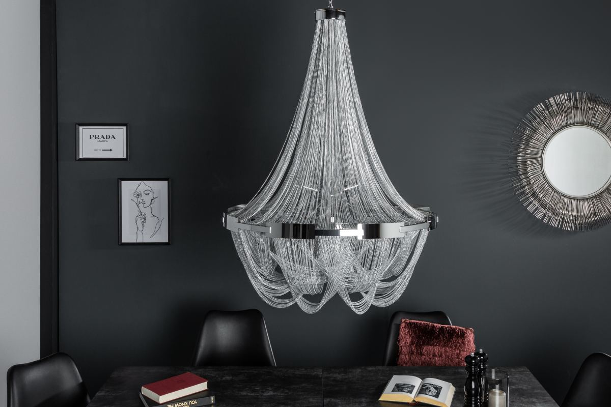 Dizajnový luster Finn, 70 cm, strieborný