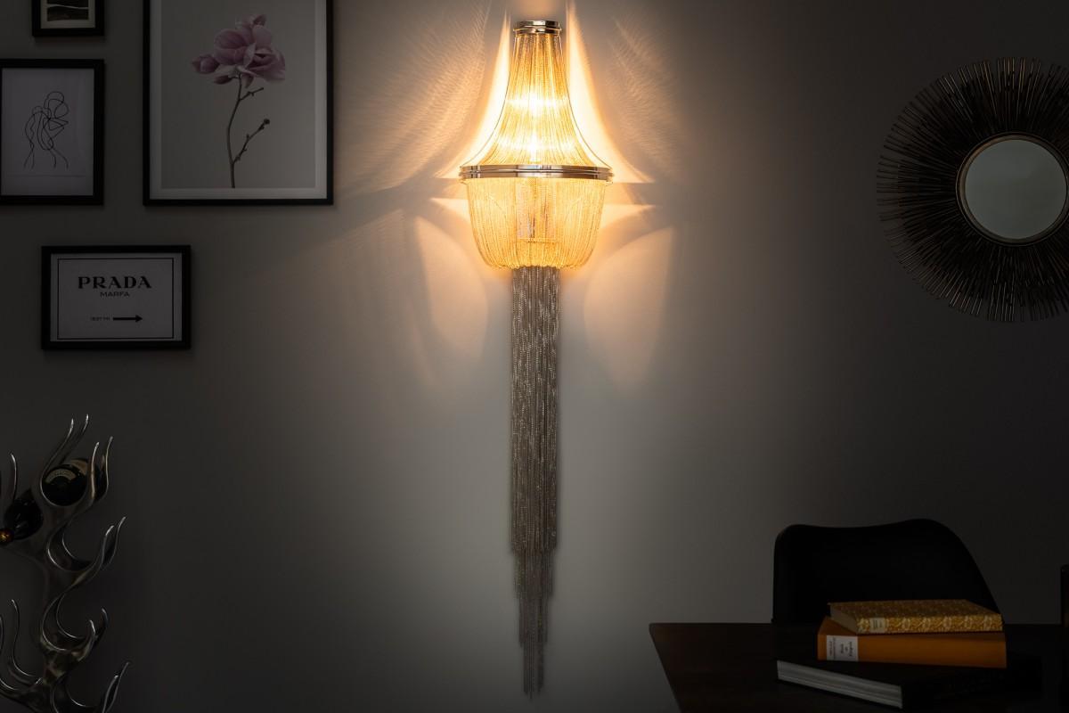 Dizajnová nástenná lampa Bridget, 150 cm, strieborná