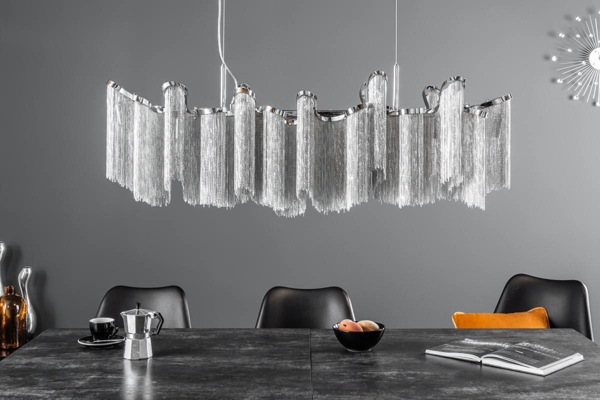 Dizajnové závesné svietidlo Anabelle, 118 cm, strieborné