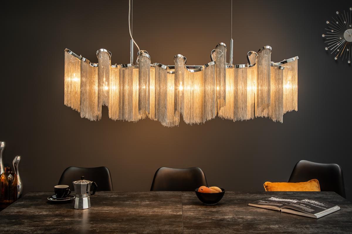 Dizajnové závesné svietidlo Anabelle, 76 cm, strieborné
