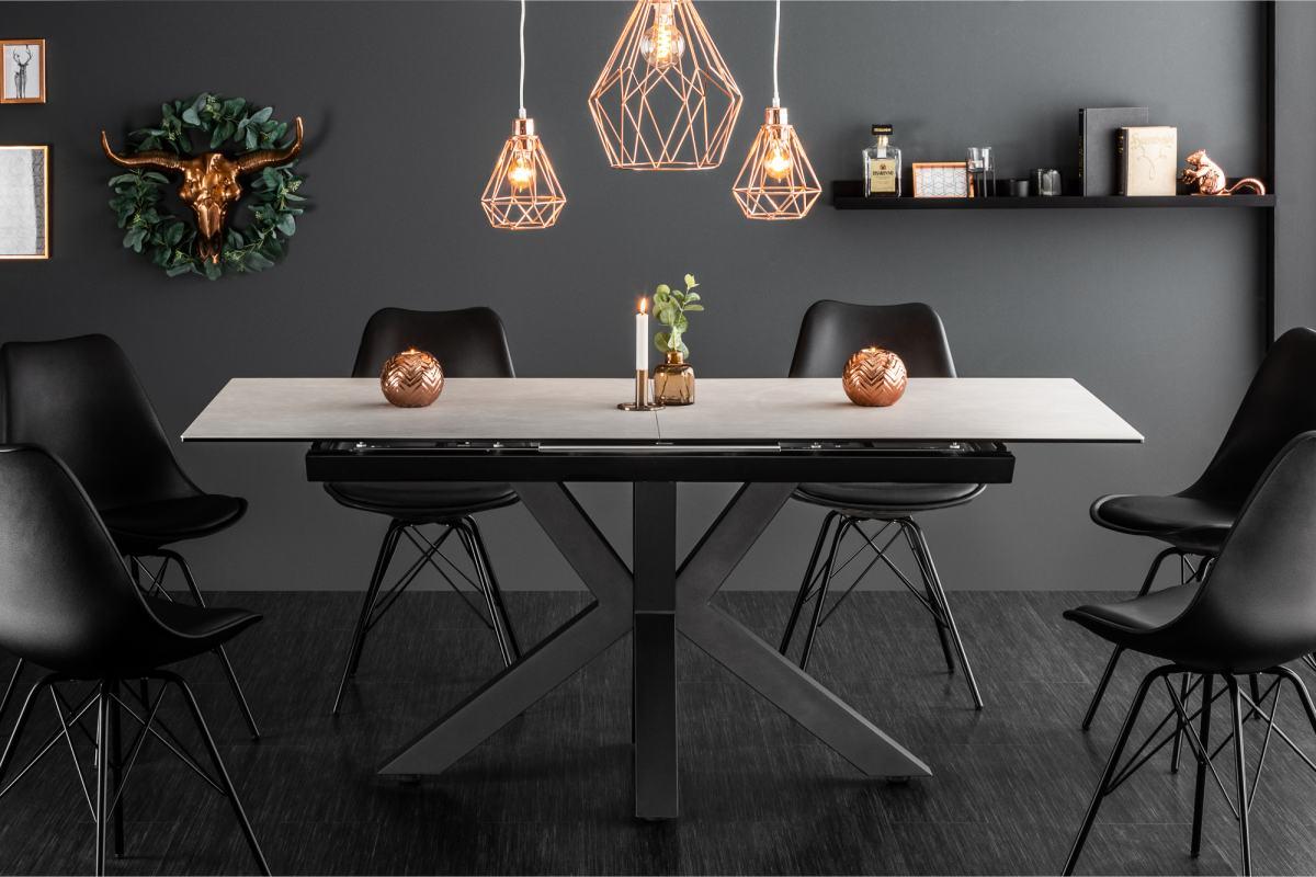 Dizajnový jedálenský stôl Zariah, 180-225 cm, betónový vzhľad